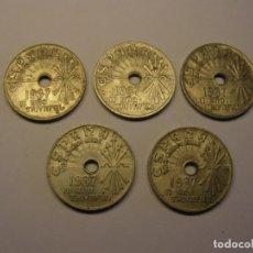Monedas Franco: 5 MONEDAS DE 25 CÉNTIMOS, ZONA NACIONAL, PRIMERA EMISIÓN, AÑO 1937, GUERRA CIVIL ESPAÑOLA. . Lote 168421688