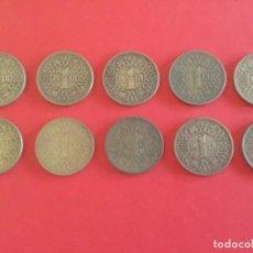 Monedas Franco: 10 MONEDAS DE 1 PESETA. ESPAÑA 1944. Lote 168832608