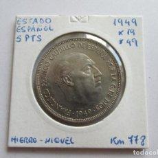 Monedas Franco: ESTADO ESPAÑOL * 5 PESETAS 1949*49 * S/C. Lote 170562248