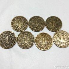 Monedas Franco: 7 MONEDAS DE 1 PESETA DE 1944. Lote 171335847
