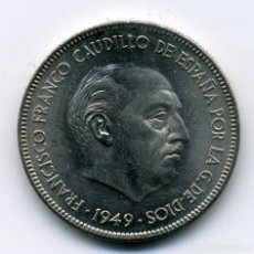 Monedas Franco: 5 PESETAS 1949 (*19-50) - SIN CIRCULAR. Lote 172867984