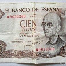 Monedas Franco: BILLETE DE 100 PESETAS 17-11-1970, MANUEL DE FALLA.. Lote 174014130