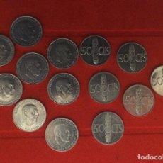 Moedas Franco: LOTE 14 MONEDAS. 50 CÉNTIMOS, FRANCISCO FRANCO, 1966 (68, 71 Y 73). Lote 174560083