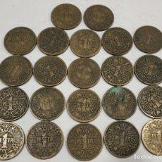 Monedas Franco: LOTE DE 22 MONEDAS DE 1 PESETA , 1944. Lote 176109738
