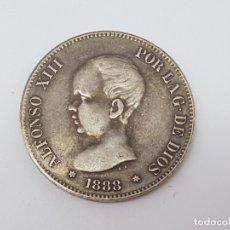 Monedas Franco: 5 PESETAS DE 1888 CON RESELLO PORTUGUES ( REPRODUCCIÓN ANTIGUA DE CALIDAD ). Lote 176138970