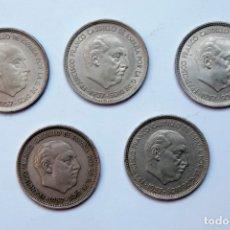 Monedas Franco: N207.- ESTADO ESPAÑOL. FRANCISCO FRANCO. LOTE DE 5 MONEDAS DE 50 PESETAS 1957. Lote 177935334