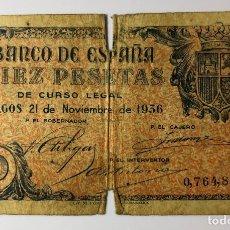 Monedas Franco: BILLETE DE 10 (DIEZ) PESETAS BURGOS DEL 21 DE NOVIEMBRE 1936. Lote 178251708