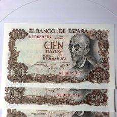 Monedas Franco: LOTE DE 3 BILLETES DE 100 PESETAS EMITIDO 17 NOVIEMBRE DE 1970 (S/C) PLANCHA CORRELATIVOS. Lote 178252922