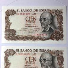 Monedas Franco: LOTE DE 2 BILLETES DE 100 PESETAS EMITIDO 17 NOVIEMBRE DE 1970 (S/C) PLANCHA CORRELATIVOS. Lote 178252993