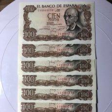Monedas Franco: LOTE DE 8 BILLETES DE 100 PESETAS EMITIDO 17 NOVIEMBRE DE 1970 (S/C) PLANCHA. Lote 178253038