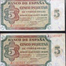 Monedas Franco: ESPAÑA BILLETES DE 5 PESETAS AÑO 1938. Lote 178928731