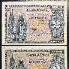Monedas Franco: ESTADO ESPAÑOL PAREJA DE BILLETES DE 2 PESETAS. Lote 178928938
