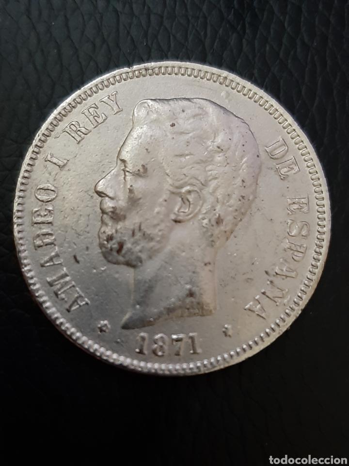 Monedas Franco: Moneda 5 pesetas Amadeo I de España 1.871 - Foto 2 - 179045537