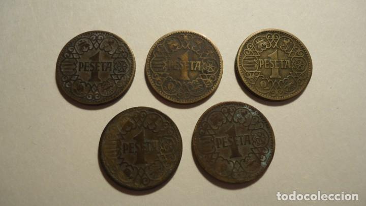 LOTE 5 MONEDAS DE 1 PESETA 1944 (Numismática - España Modernas y Contemporáneas - Estado Español)