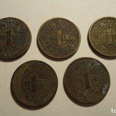 Monedas Franco: LOTE 5 MONEDAS DE 1 PESETA 1944. Lote 179070752