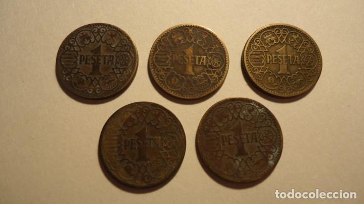 Monedas Franco: LOTE 5 MONEDAS DE 1 PESETA 1944 - Foto 2 - 179070752