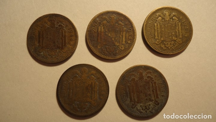 Monedas Franco: LOTE 5 MONEDAS DE 1 PESETA 1944 - Foto 4 - 179070752