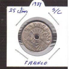 Monedas Franco: MONEDA 25 CENTIMOS AÑO 1937 DE FRANCO LAS QUE VES . Lote 179315830