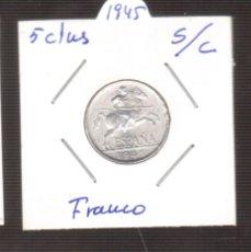 Monedas Franco: MONEDA 5 CTMOS DEL 1945 S/CDE FRANCO LAS QUE VES . Lote 179316527