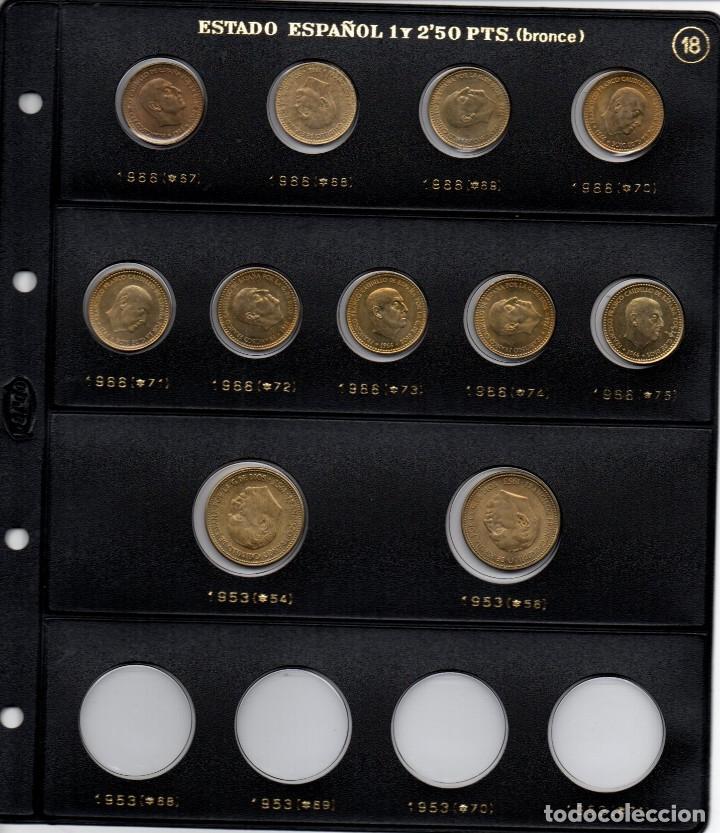 Monedas Franco: Colección entera de monedas de 1 peseta de Franco y 2 monedas de 2,50 sin circular - Foto 2 - 180965510
