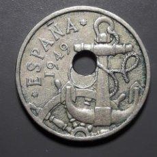 Monedas Franco: ERROR: 50 CÉNTIMOS 1949 *(19/51) CON AGUJERO MUY DESCENTRADO. Lote 182006820