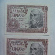 Monedas Franco: LOTE DE 2 BILLETES DE 1 PESETA DE 1953 CORRELATIVOS. Lote 182053853