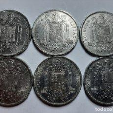 Monedas Franco: LOTE 6 MONEDAS 5 PESETA 1949 50* DURO CABEZON EBC++. Lote 182993198