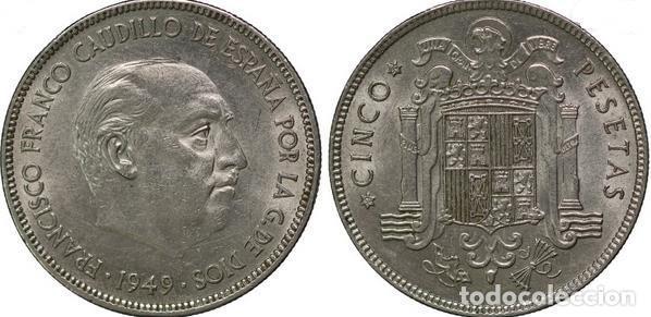 CINCO 5 PESETAS FRANCO 1949 ESTRELLAS 19 * 49* CALIDAD SC (Numismática - España Modernas y Contemporáneas - Estado Español)
