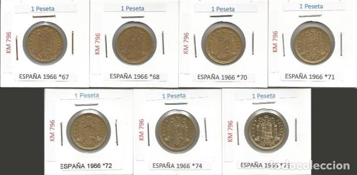 ESPAÑA 1966 (VER ESTRELLAS) - 1 PESETA - KM 796 - LOTE 7 MONEDAS CIRCULADAS (Numismática - España Modernas y Contemporáneas - Estado Español)