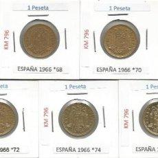 Monedas Franco: ESPAÑA 1966 (VER ESTRELLAS) - 1 PESETA - KM 796 - LOTE 7 MONEDAS CIRCULADAS. Lote 161231494