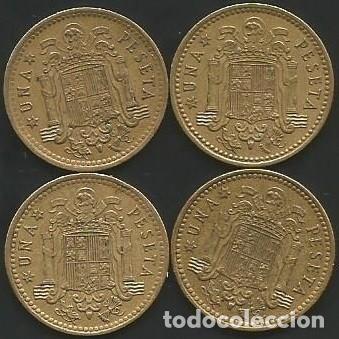 ESPAÑA 1966 (VER ESTRELLAS) - 1 PESETA - KM 796 - LOTE 4 MONEDAS CIRCULADAS (Numismática - España Modernas y Contemporáneas - Estado Español)