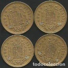 Monedas Franco: ESPAÑA 1966 (VER ESTRELLAS) - 1 PESETA - KM 796 - LOTE 4 MONEDAS CIRCULADAS. Lote 161233778