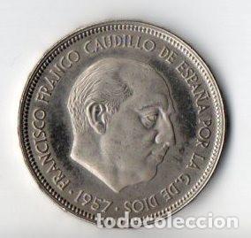 50 PESETAS DE FRANCO DE 1957 ESTRELLAS 74 CALIDAD PROOF (Numismática - España Modernas y Contemporáneas - Estado Español)