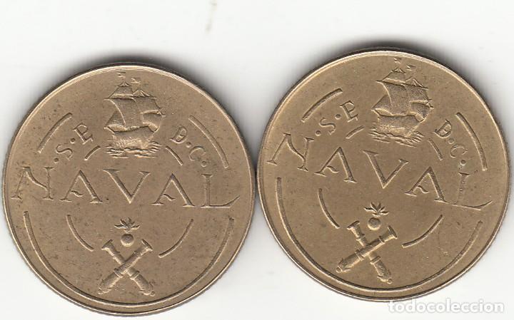 FRANCO: 1948 - 2 MONEDAS PRUEBA DE MAQUINA TALLERES SAN CARLOS (CADIZ) / 2 REVERSOS ! ¡ (Numismática - España Modernas y Contemporáneas - Estado Español)