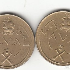 Monedas Franco: FRANCO: 1948 - 2 MONEDAS PRUEBA DE MAQUINA TALLERES SAN CARLOS (CADIZ) / 2 REVERSOS ! ¡. Lote 186323221