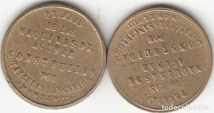 Monedas Franco: FRANCO: 1948 - 2 MONEDAS PRUEBA DE MAQUINA TALLERES SAN CARLOS (CADIZ) / 2 REVERSOS ! ¡ - Foto 2 - 186323221