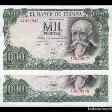 Monedas Franco: ESPAÑA PAREJA 1000 PESETAS JOSÉ ECHEGARAY 1971 PICK 154 EBC XF. Lote 189733877