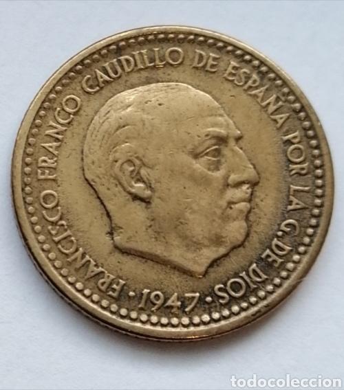 Monedas Franco: 1 PTS 1947 ESTRELLA 56 VISIBLE ,ESCASA Y DIFICIL DE CONSEGUIR,MU BUEN ESTADO - Foto 3 - 193051323