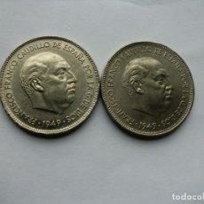 Moedas Franco: LOTE DE 2 MONEDAS DE 5 PESETAS DE FRANCO 1949 ( ESTRELLAS 49-50 ) CABEZON. Lote 193351602