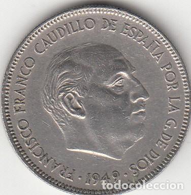 FRANCO: 5 PESETAS 1949 ESTRELLA 19-50 (Numismática - España Modernas y Contemporáneas - Estado Español)