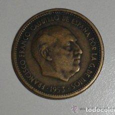Monedas Franco: ESPAÑA 2.5 PESETAS 1953 EXCESO DE METAL EN EL BORDE. Lote 194396661