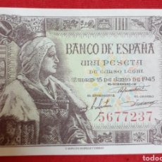 Monedas Franco: BILLETE 1 PESETA 1945. SIN CIRCULAR, SIN SERIE !! LUJO !!. Lote 194515005