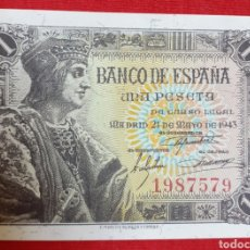 Monedas Franco: BILLETE 1 PESETA 1943. SIN SERIE, SIN CIRCULAR !! LUJO !!. Lote 194515435