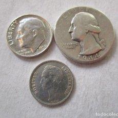 Monedas Franco: ESTADOS UNIDOS. VENEZUELA . LOTE DE TRES MONEDAS DE PLATA . Lote 194559951