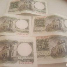 Monedas Franco: 5 BILLETES DE 1954 DE ALFONSO X SIN USAR. Lote 194782467