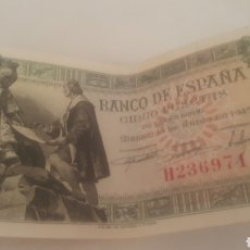 Monedas Franco: BILLETE DE CINCO PESETAS DE 1945 REYES CATOLICOS SERIE H. Lote 194782747