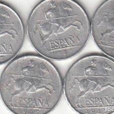 Monedas Franco: FRANCO: 5 CENTIMOS 1945 ( 5 MONEDAS ). Lote 194859412