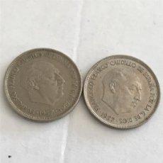 Monedas Franco: 2 MONEDAS DE 25 PESETAS DE 1957 ESTRELLA 61 . Lote 194925675