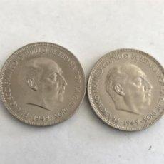 Monedas Franco: 2 MONEDAS DE 5 PESETAS DE 1949 ESTRELLA 49 . Lote 194926065