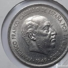 Monedas Franco: 5 PESETAS 1949 *50 EBC+++ SC-DURO CABEZON. Lote 194973878